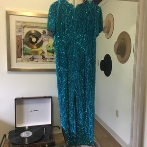 Stenay Dresses - Vintage stenay aqua turquoise sequin long dress